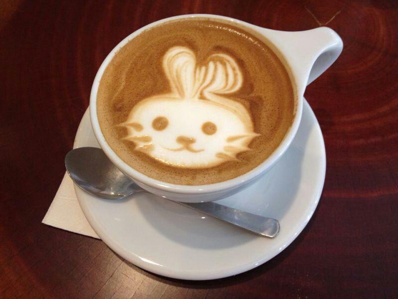 Rabbit Latte Art   Latte, Latte art, Tableware