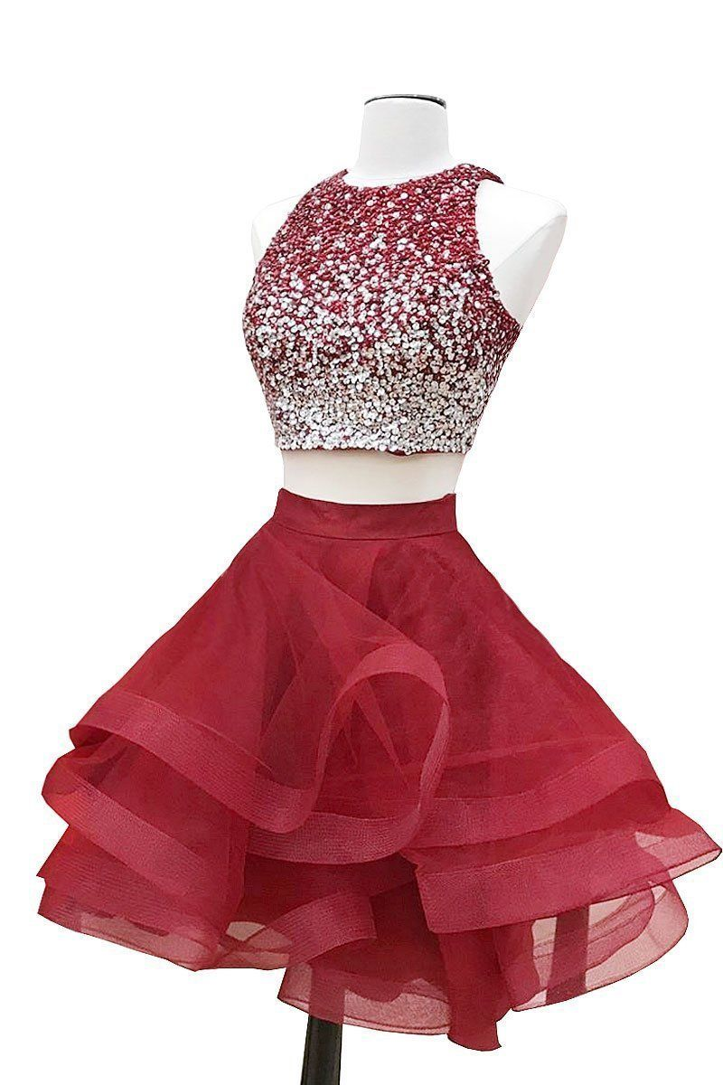 Aline Halter Sleeveless Sweetheart Organza Burgundy Short Prom Dresses Homecoming Dress - Red homecoming dresses, Burgundy homecoming dresses, Two piece homecoming dress, Prom dresses two piece, Piece prom dress, Pretty party dresses - Aline Halter Sleeveless Sweetheart Organza Burgundy Short Prom Dresses Homecoming Dress, STA, This dress could be custom made, there are no extra cost to do custom size and color