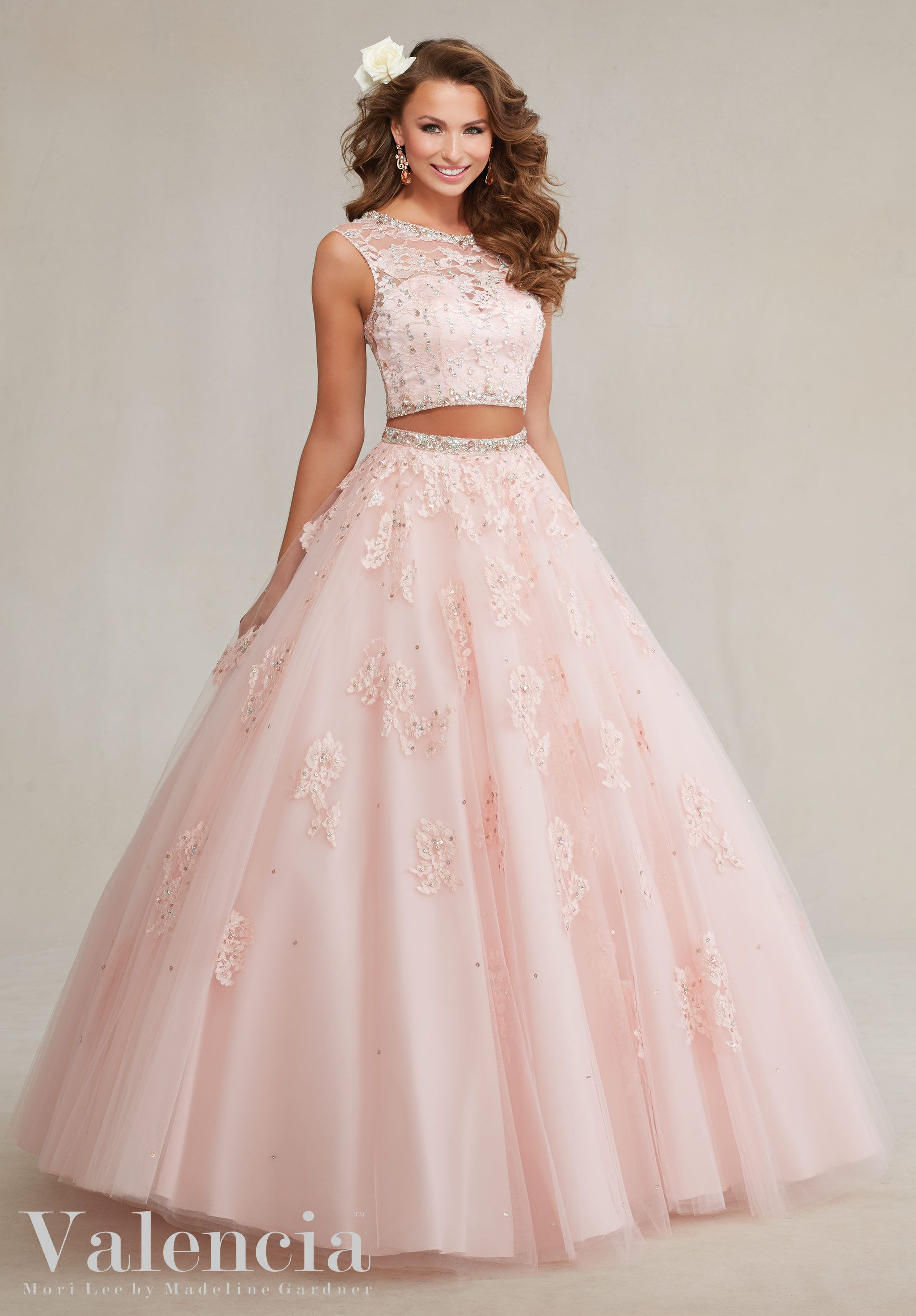 Twopiece tulle with beaded lace appliqués quinceañera dress