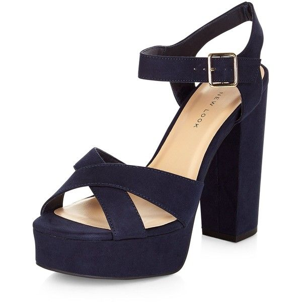 New Look Wide Fit Navy Suedette Cross Strap Block Heels ($41