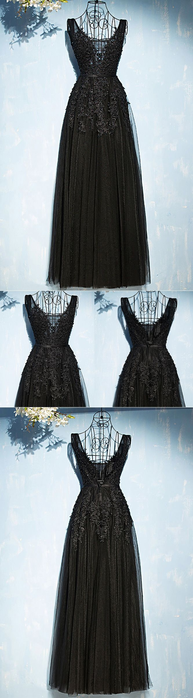 Classic long black lace tulle prom dress vneck sleeveless myx