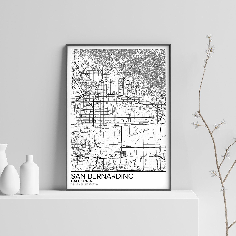 San Bernardino Map Poster Print Wall Art California Gift