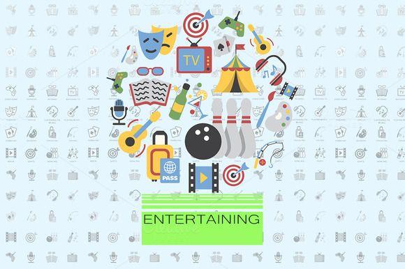 Entertainment flat vector set  @creativework247