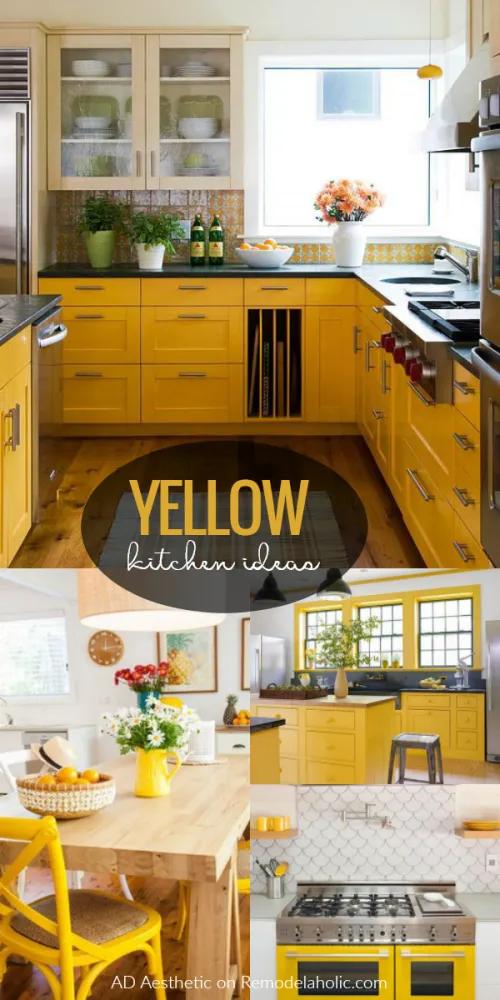 Remodelaholic Sunny Yellow Kitchen Decorating Ideas Yellow Kitchen Yellow Kitchen Decor Yellow Kitchen Cabinets