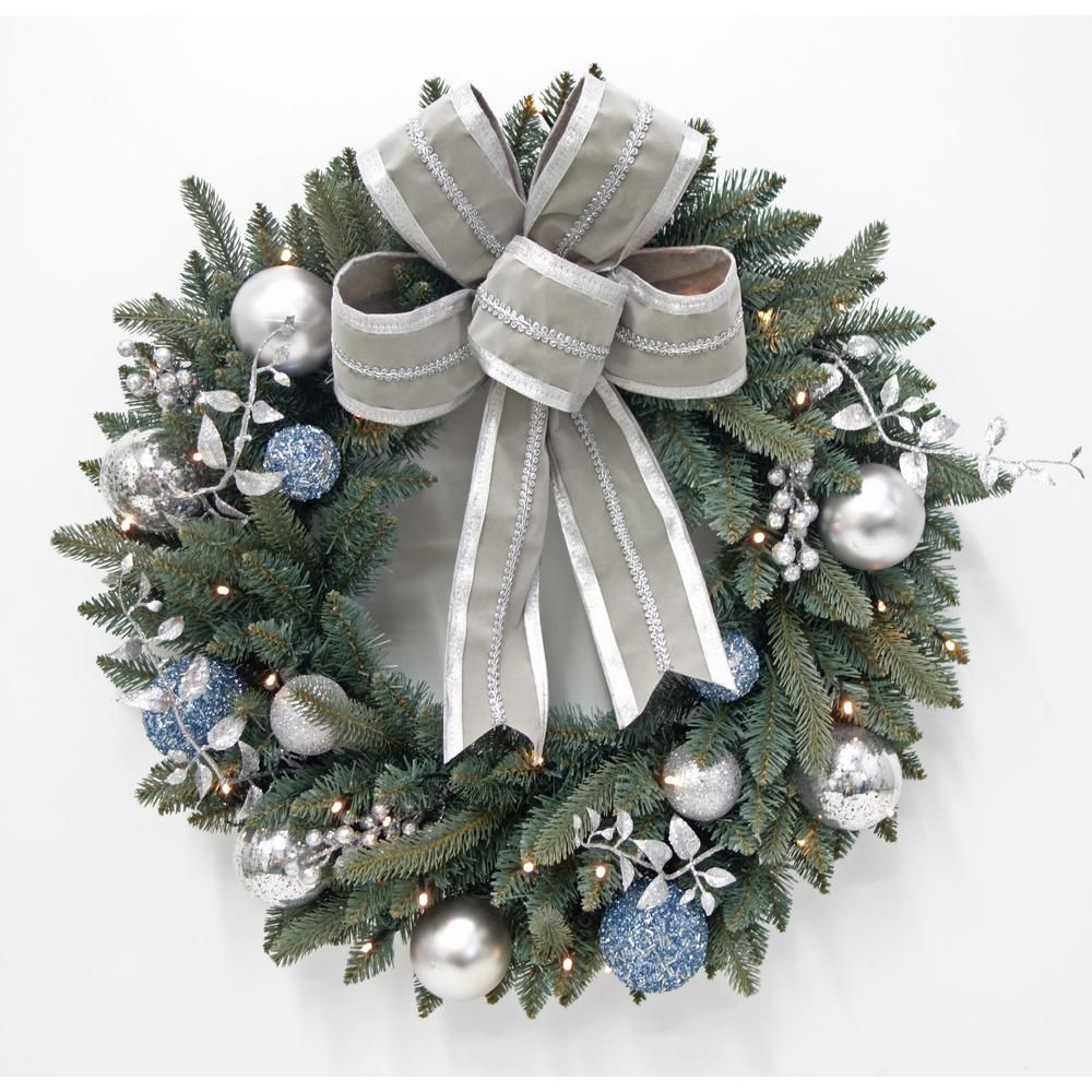 Home Accents Holiday 30 In Pre Lit LED Decorated Blue Spruce Artificial Christmas Wreath With Grey Bow