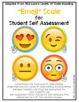 Student Self Assessment Emojis Marzano Scale Levels Of Understanding Student Self Assessment Formative Assessment Assessment For Learning