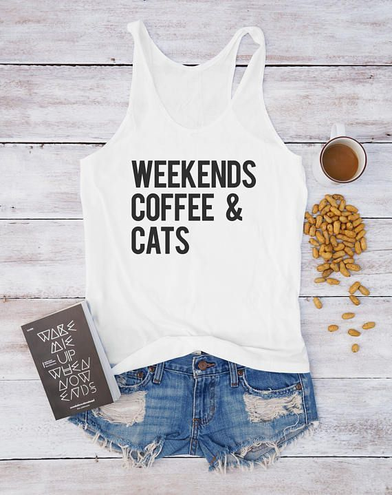 Coffee Shirt Cat Funny Quote Graphic Women Fitness Summer Birthday Workout Gym Gifts Ideas Friends Family Drinking Sports