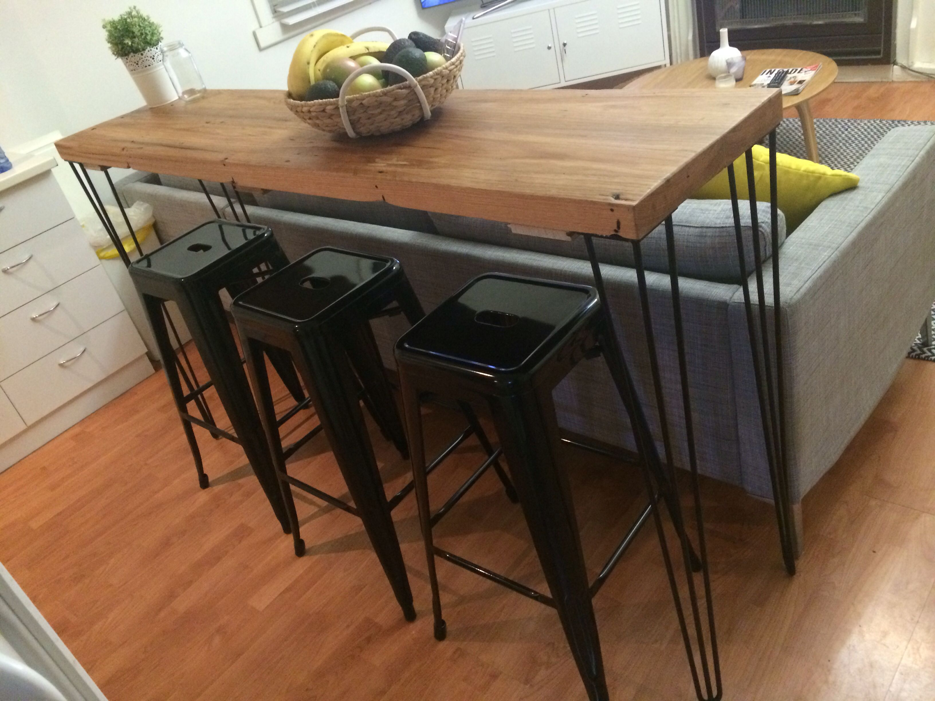 Upcycled Timber Table Top Breakfast Bar Messmate 1600 X 400 X 50mm Legs  Supplied By Customer
