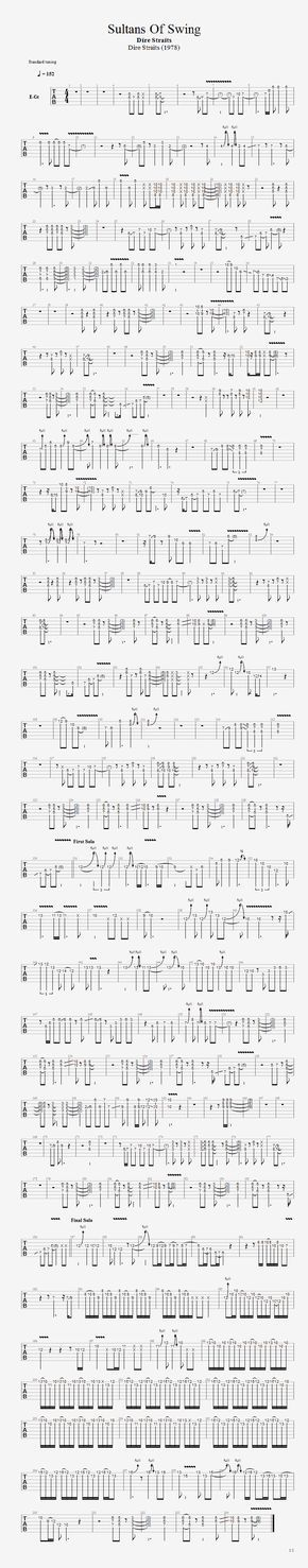 Sultans Of Swing Guitar Solo Tab Sultans Of Swing Guitar Solo Guitar Tabs