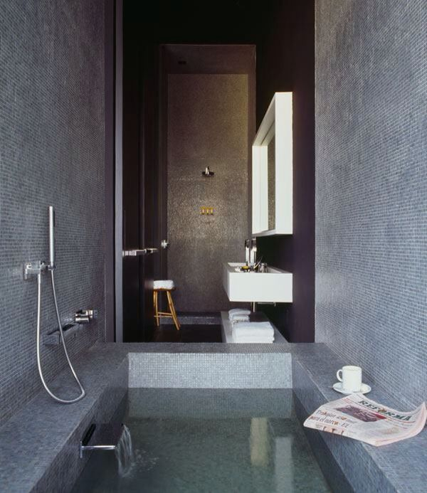 Dark mosaic sanctuary bathroom