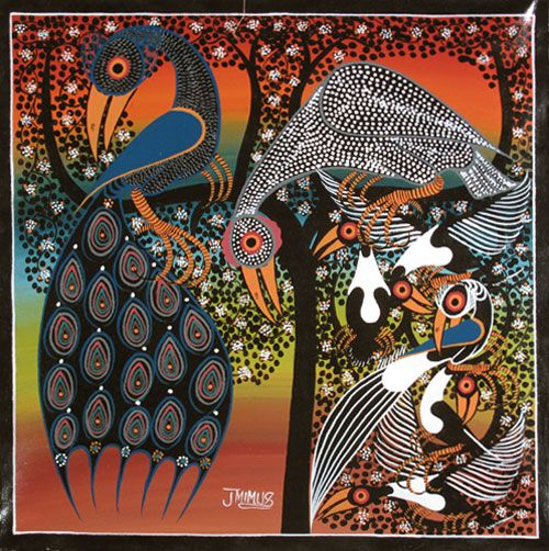Birds in the Jungle, by Jafary Mimus (b. 1962, Nakapanya, Tanzania - member of Tinga Tinga Arts Cooperative Society), Dar-es-Salaam (Tanzania), 2013. Oil enamel on canvas.