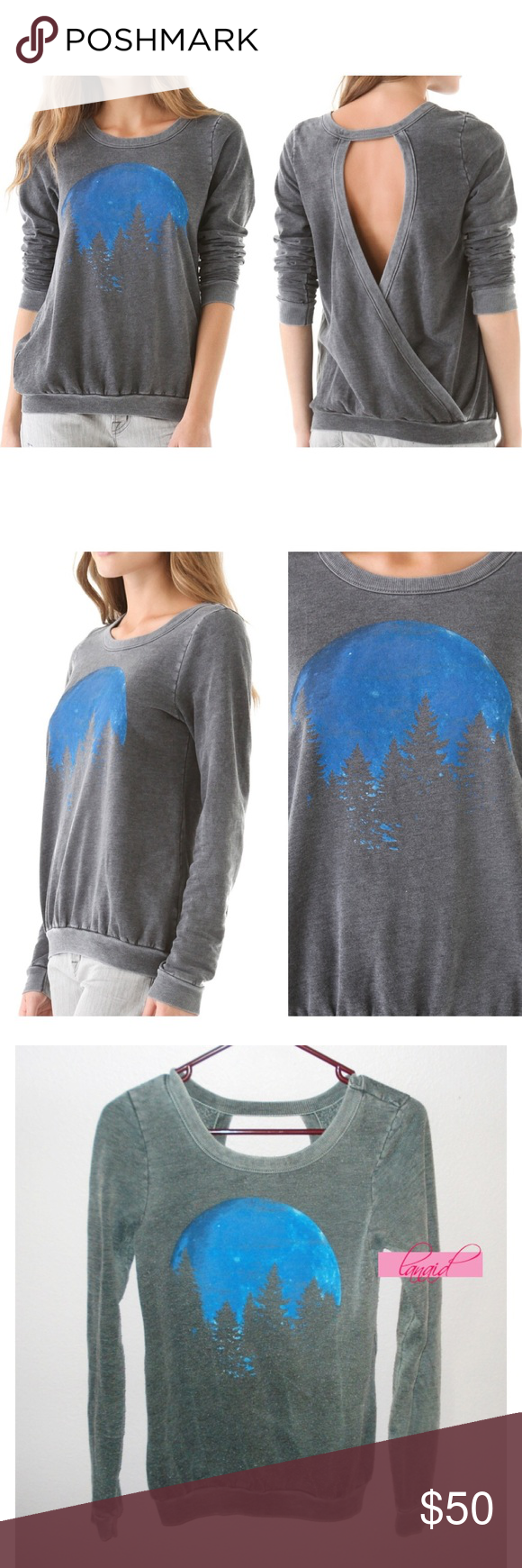 """Chaser Blue Moon Open Back Sweatshirt Forest Trees PRICE IS FIRM AND NON-NEGOTIABLE. NO OFFERS. NO TRADES. Chaser """"Blue Moon"""" pullover sweatshirt in Acid Gray, size XS (may also fit a size S). Sexy crossover open back. Featuring a faded tree/forest/moon graphic. Heavily distressed throughout with factory pilling all-over to lend a worn-in and vintage look to this awesome sweater. All distressing is intentional. Super soft. Chaser Sweaters Crew & Scoop Necks"""