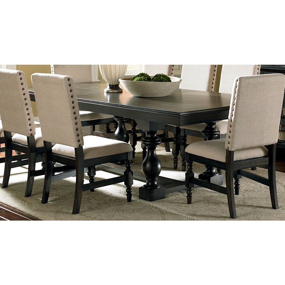 Dining Table Sets Deals: Loraine Antique Charcoal Trestle Dining Table
