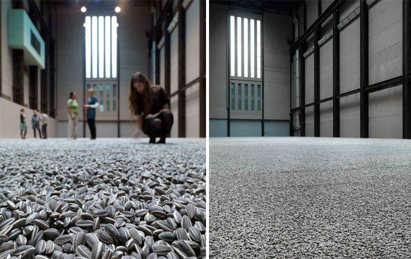 Chinese conceptual artist ai weiwei filled the Tate Modern's turbine hall with millions of life-sized, hand painted sunflower seed husks made out of porcelain