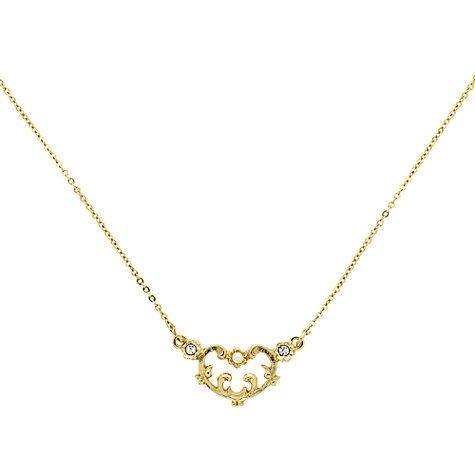 Buy Downton Abbey Gold Plated Faux Pearl Crystal Heart Pendant Necklace, Gold Online at johnlewis.com