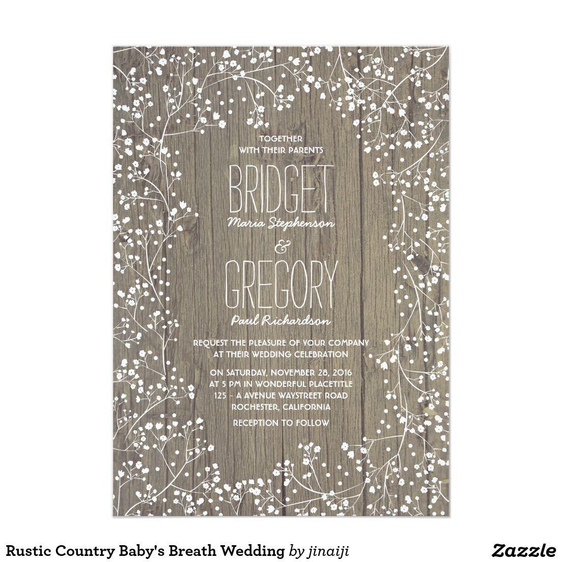 Rustic Country Baby S Breath Wedding Invitation Zazzle Com Babys Breath Wedding Wedding Invitations Rustic Country Country Wedding Invitations