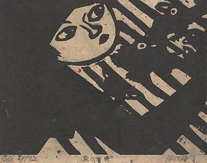 Shadow of birds by AKIYAMA Iwao, woodcut