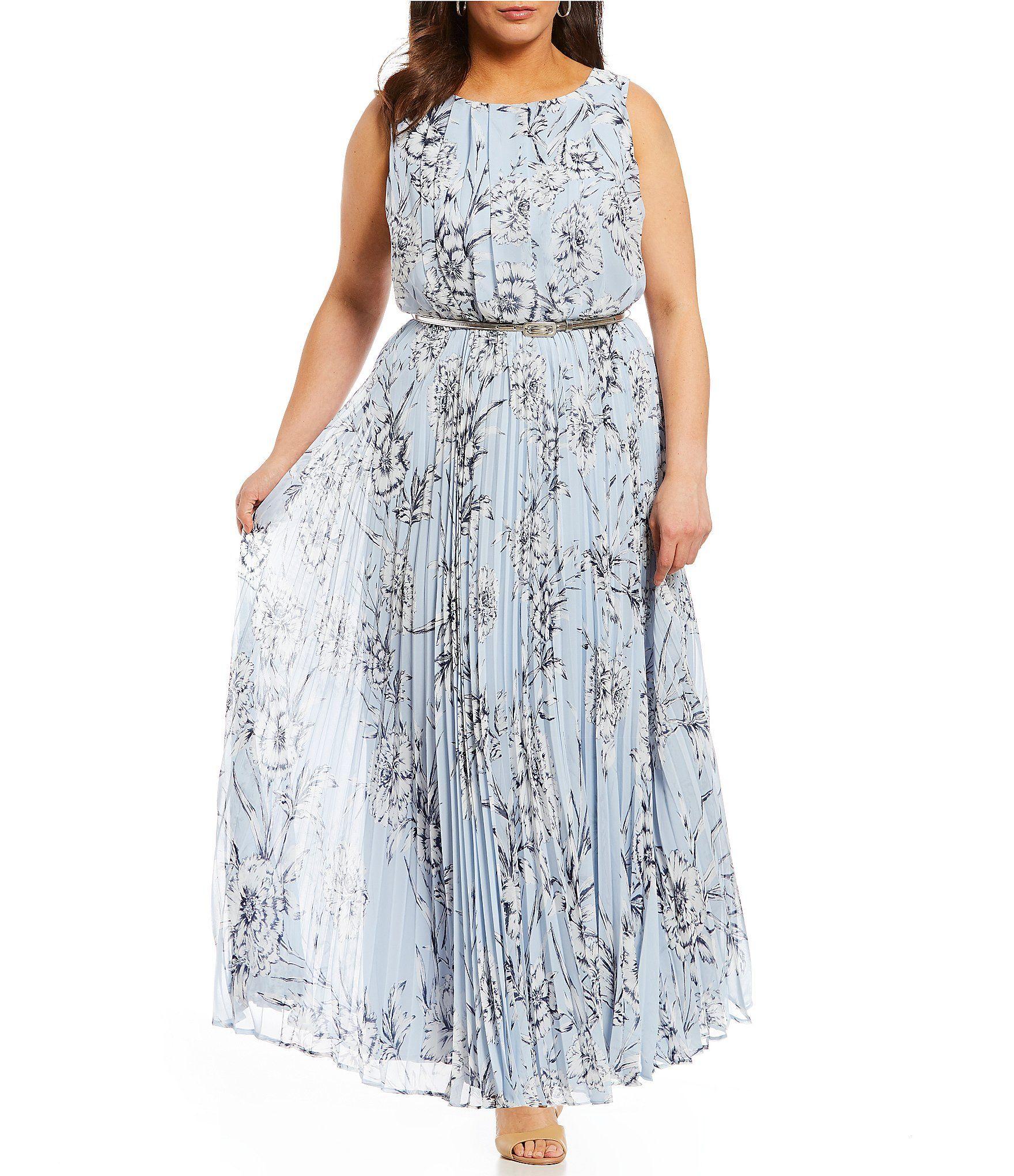 Eliza J Plus Floral Print Blouson Pleated Maxi Dress ...