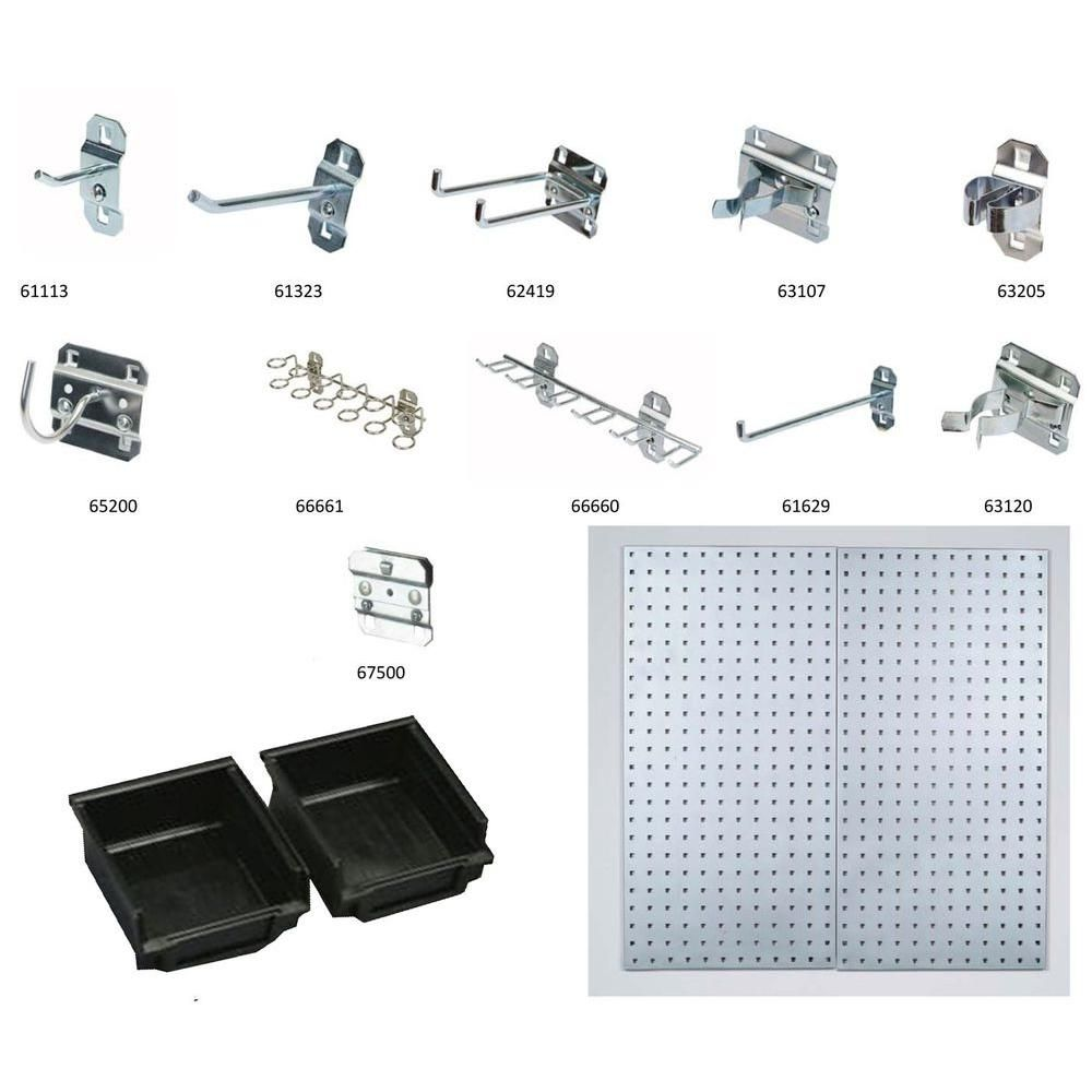 Triton Products LocBoard 18 in. x 36 in. Stainless Steel Boards with 32-Piece Hook Assortment, 3-Bins and Hardware (2-Quantity)