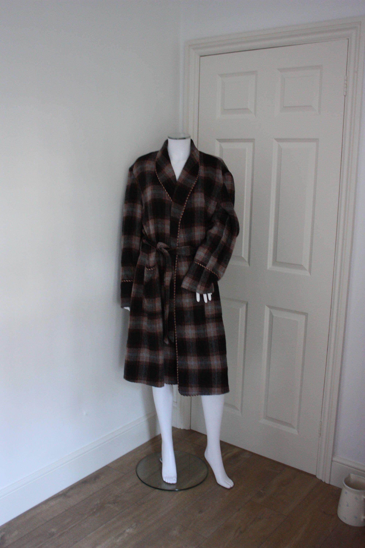 Tartan dressing gown - plaid robe - woolen blend - winter dressing ...