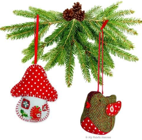 2 X Christmas Decoration Ornament Sewing PATTERNS Cute Owl /& Tweedy Pie Robin