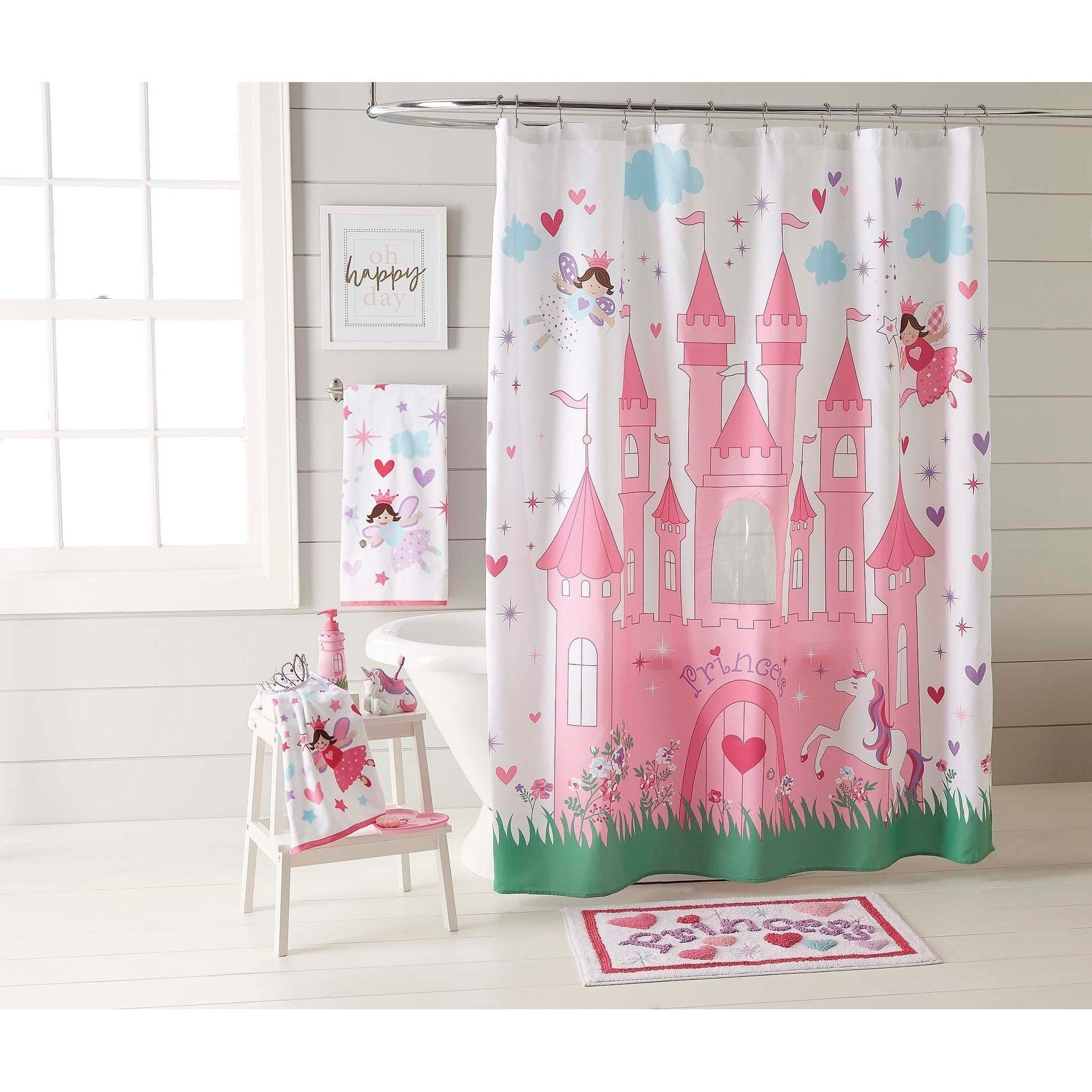 Dream Factory Magical Princess Shower Curtain 70 X 72 Pink