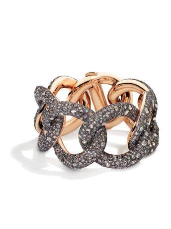 POMELLATO Tango 18K Rose Gold Link Bracelet with Brown Diamonds YFvHD0l3x