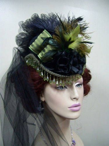 """""""Mini"""" hat and veil, works mixed era or dated era for parties or everyday outer wear depending on character and setting"""