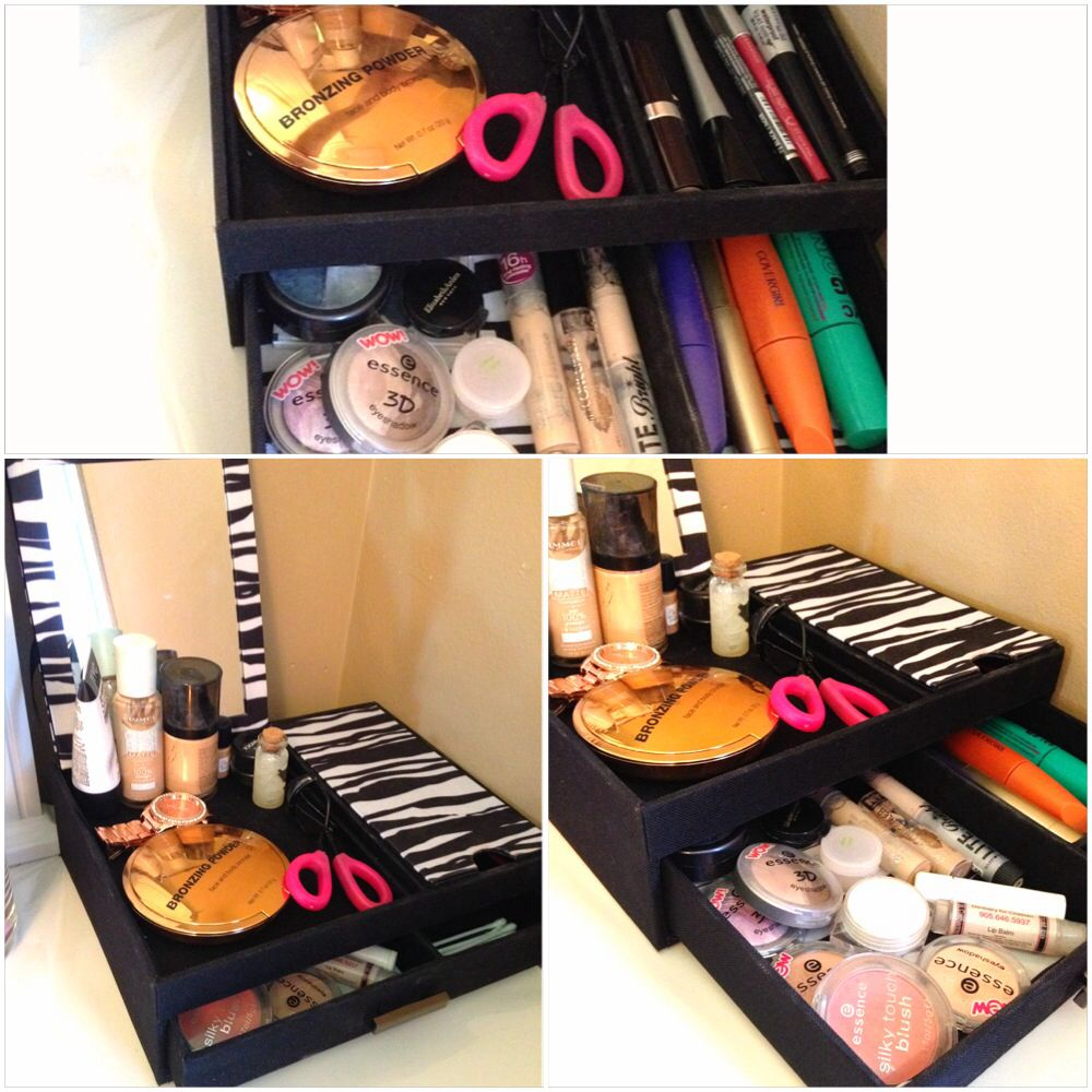 Turn your jewelry box into a makeup organizer. #makeup#organizer#DIY#