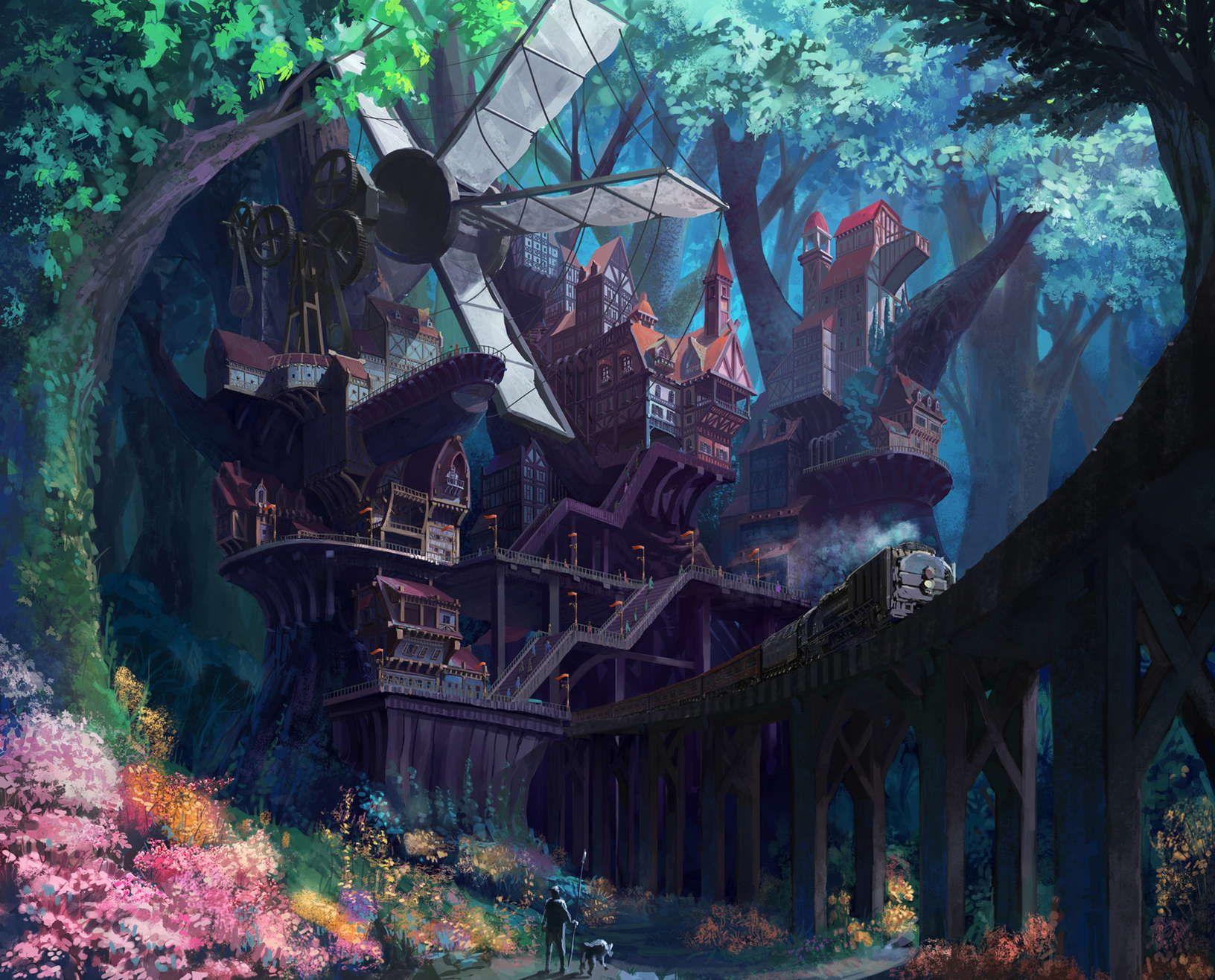 Download Concept Art Fantasy Village Art Wallpapers
