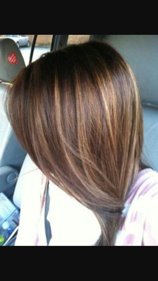 Hairstyle Mid Length Brown With Caramel Highlights Highlights