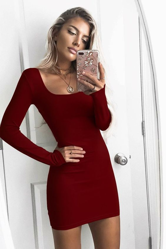 Sexy Long Sleeve Burgundy Short Prom Dress, Sheath Short Party Dress -   17 cocktail dress Tight ideas