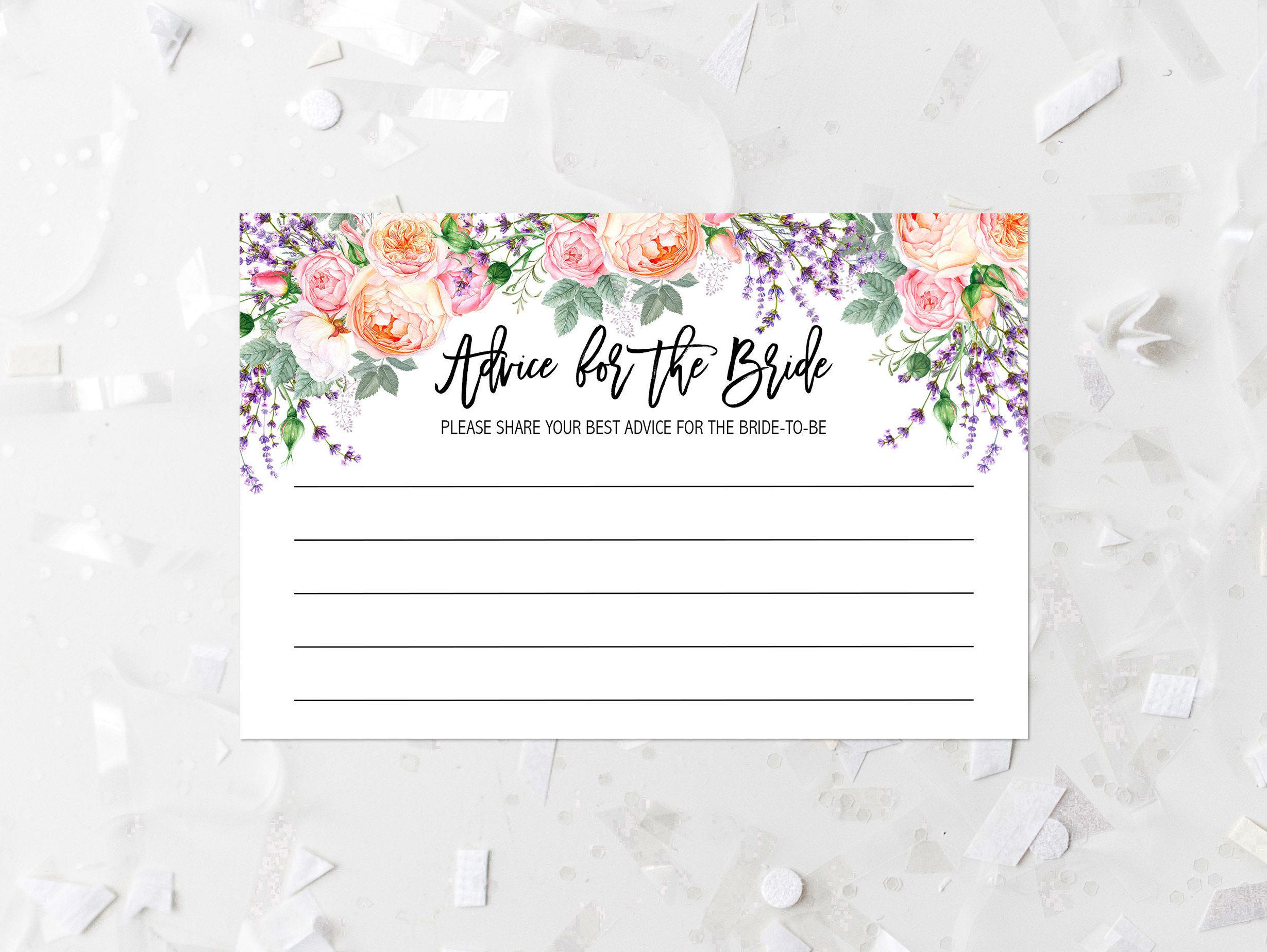 Floral Advice For The Bride Printable Spring Floral Bridal Shower