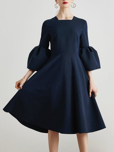 395758ef4 Shop Midi Dresses - Dark Blue A-line Square Neck Bell Sleeve Polyester Midi  Dress online. Discover unique designers fashion at StyleWe.com.