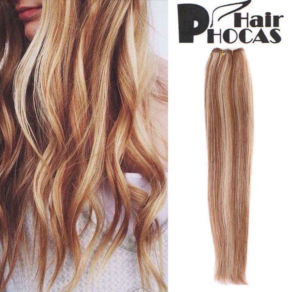 Hairphocas 6 613 100 Brazilian Human Hair Weave Blonde Highlights