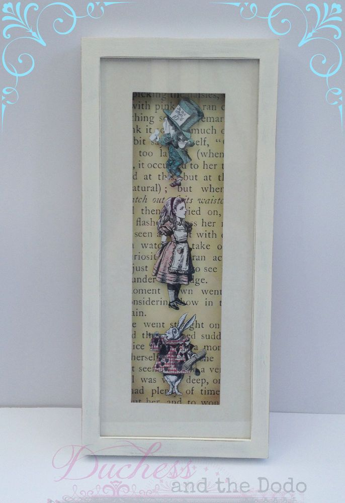 Alice In Wonderland Wall Art Picture In Large Box Frame Vintage