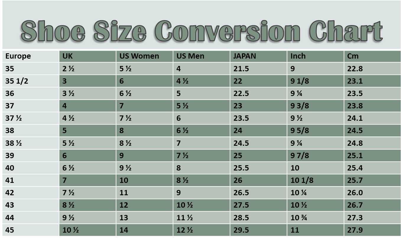 Shoe sizes conversion chart stand in another man s shoes