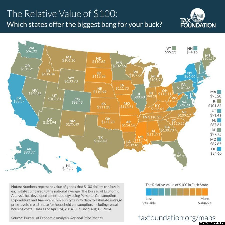 The United States Of Sales Tax In One Map Sales Tax - Us state tax map
