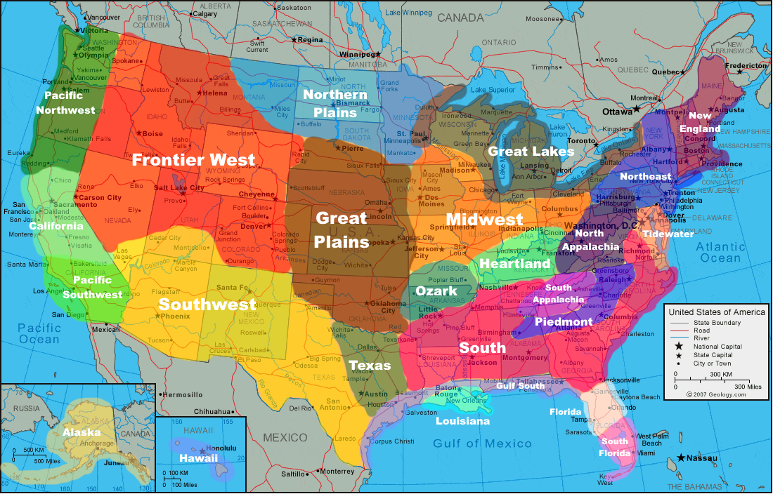 Regions of the United States | United states map, United ...