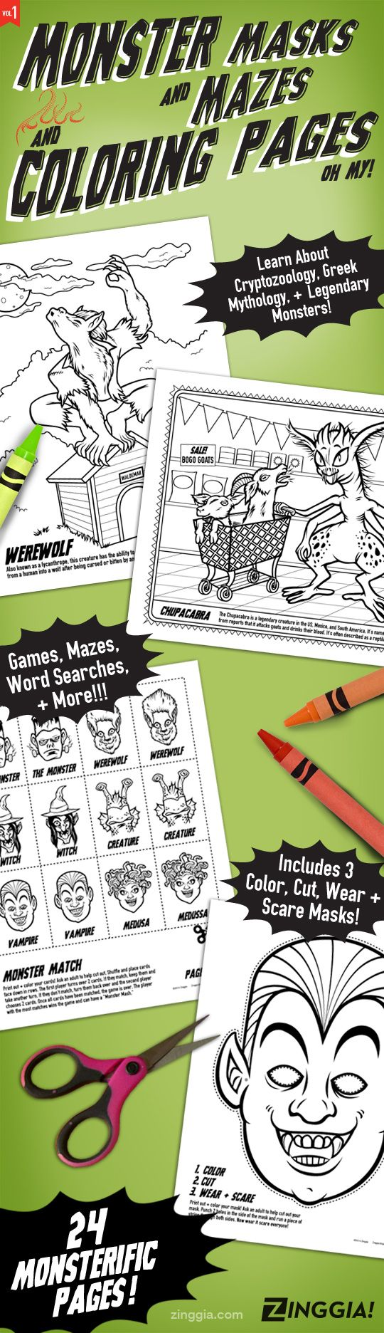 24 Monster Coloring Book Pages With Games And Masks Cryptozoology