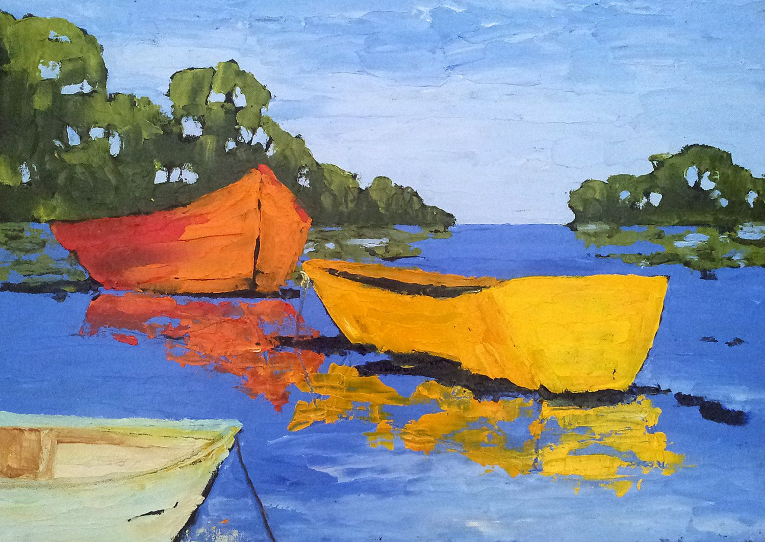 LAKE BOATS Oil Painting 18x24 Landscape Lynne French California ...