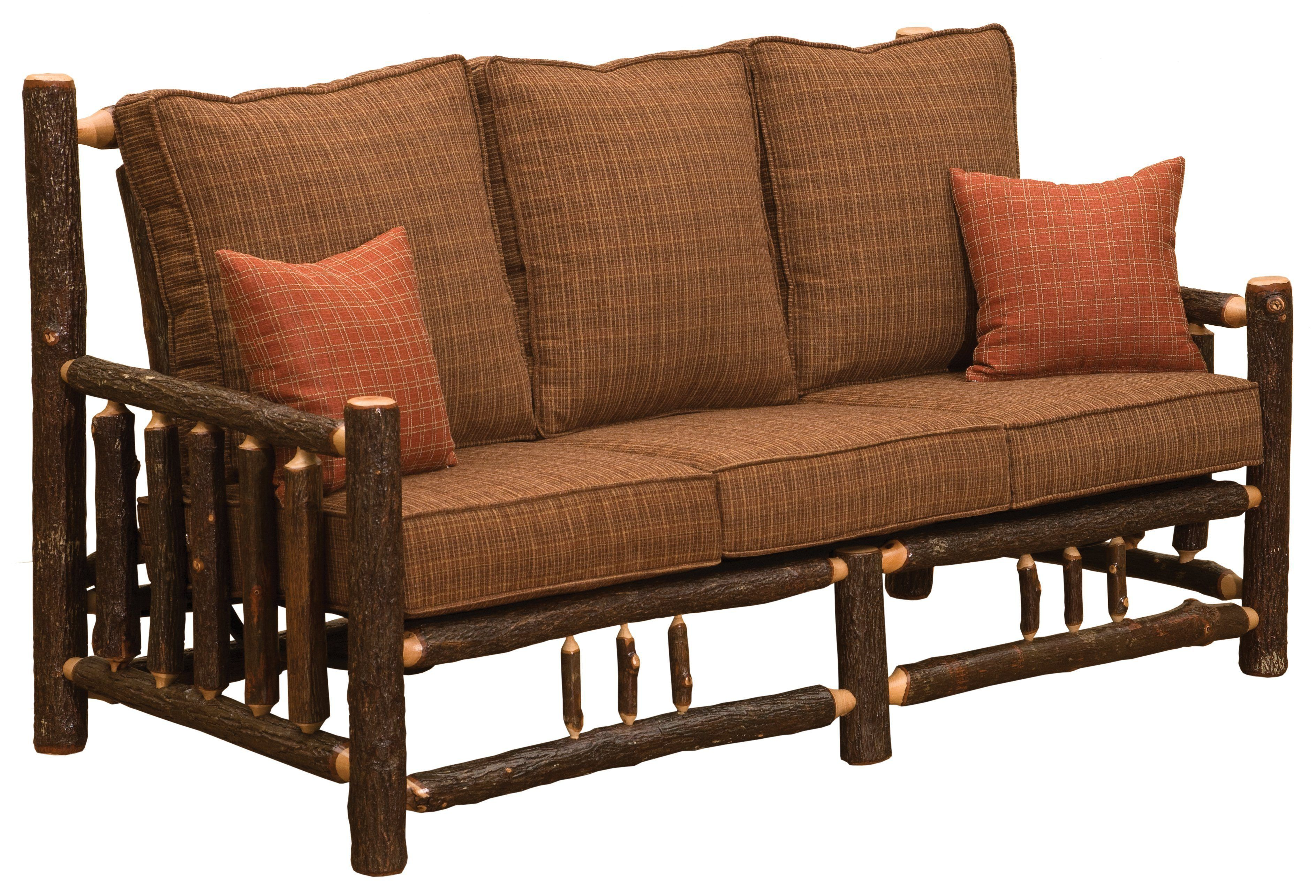 Natural Hickory Log Frame Sofa Includes Fabric and
