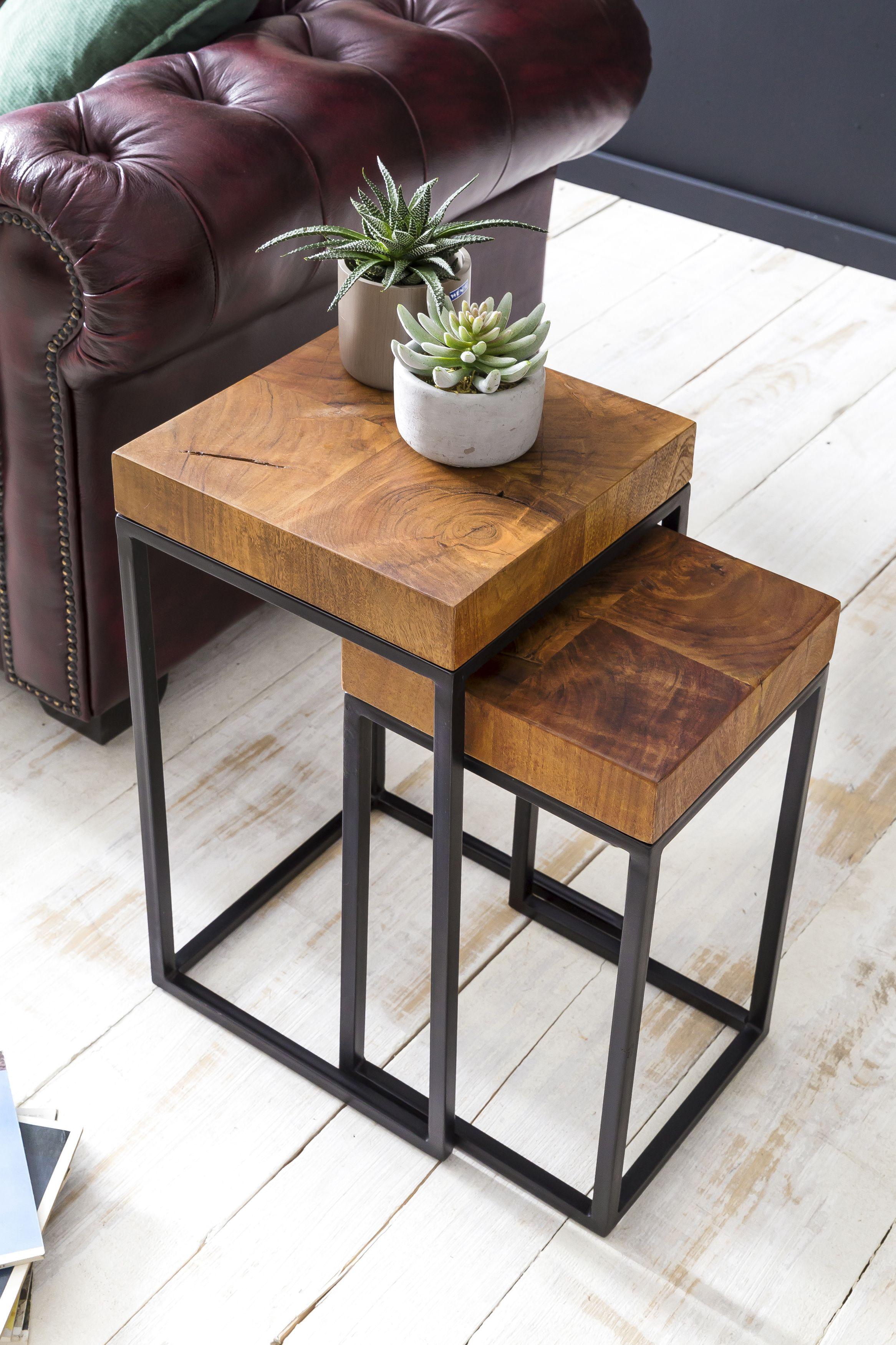 Wohnling Beistelltisch 2er Set 30x30 Cm Wl5 660 Aus Sheesham Massivholz Und Metall Wohnzimmer Esszim Couchtisch Metall Couchtisch Holz Beistelltisch 2er Set