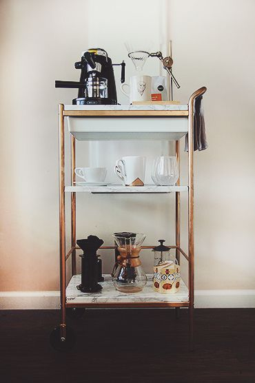 DIY Marble And Gold Coffee Cart