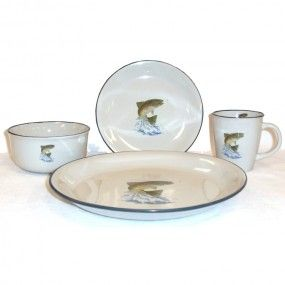 Rainbow Trout Dinnerware - Service for 4 the cabin shop  sc 1 st  Pinterest & Rainbow Trout Dinnerware - Service for 4 the cabin shop | A Lake ...