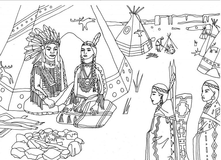 Coloring Page Of Cartoon Native American Indian Boy With Bow And