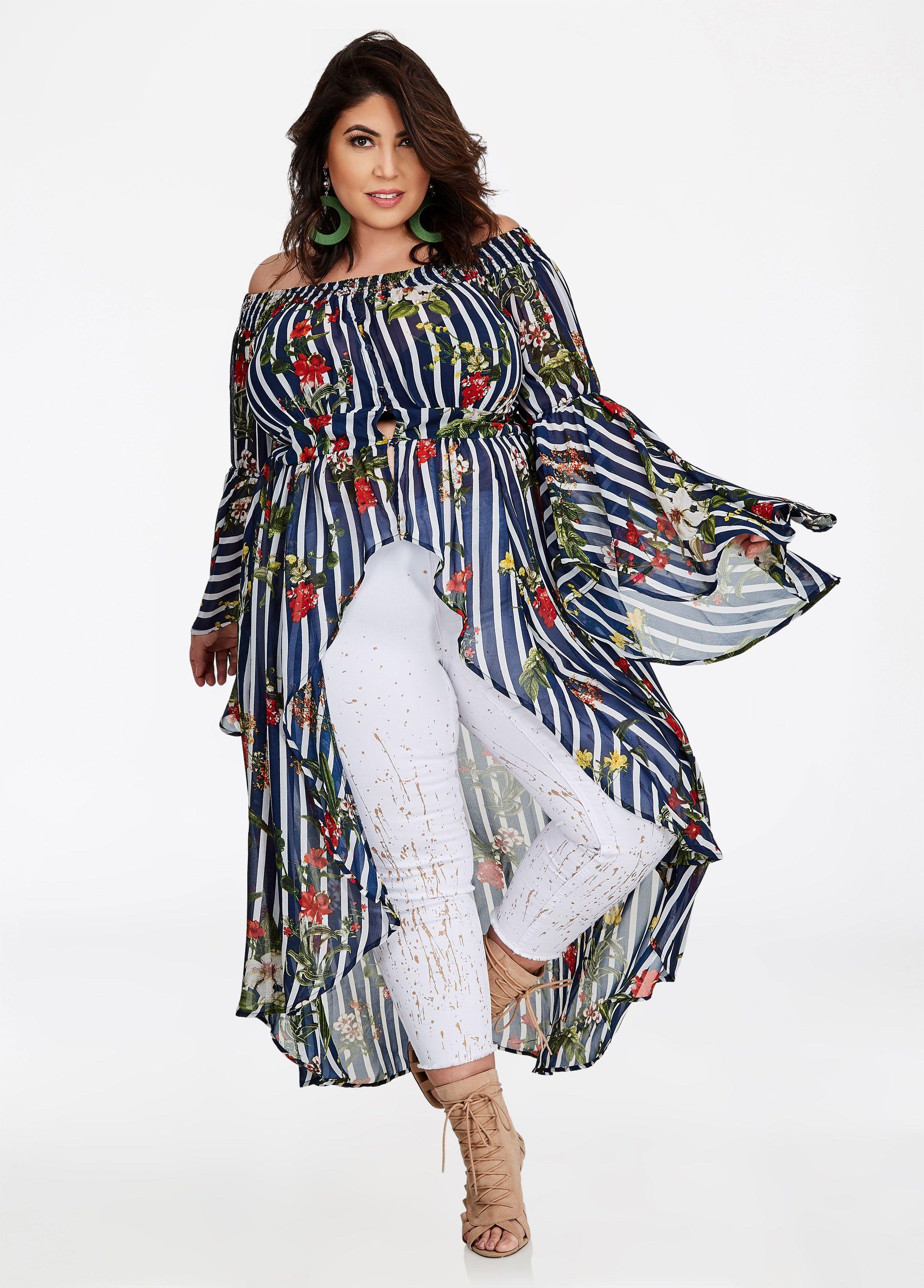 d90542cb511 Hi Lo Striped Floral Maxi Duster - Ashley Stewart