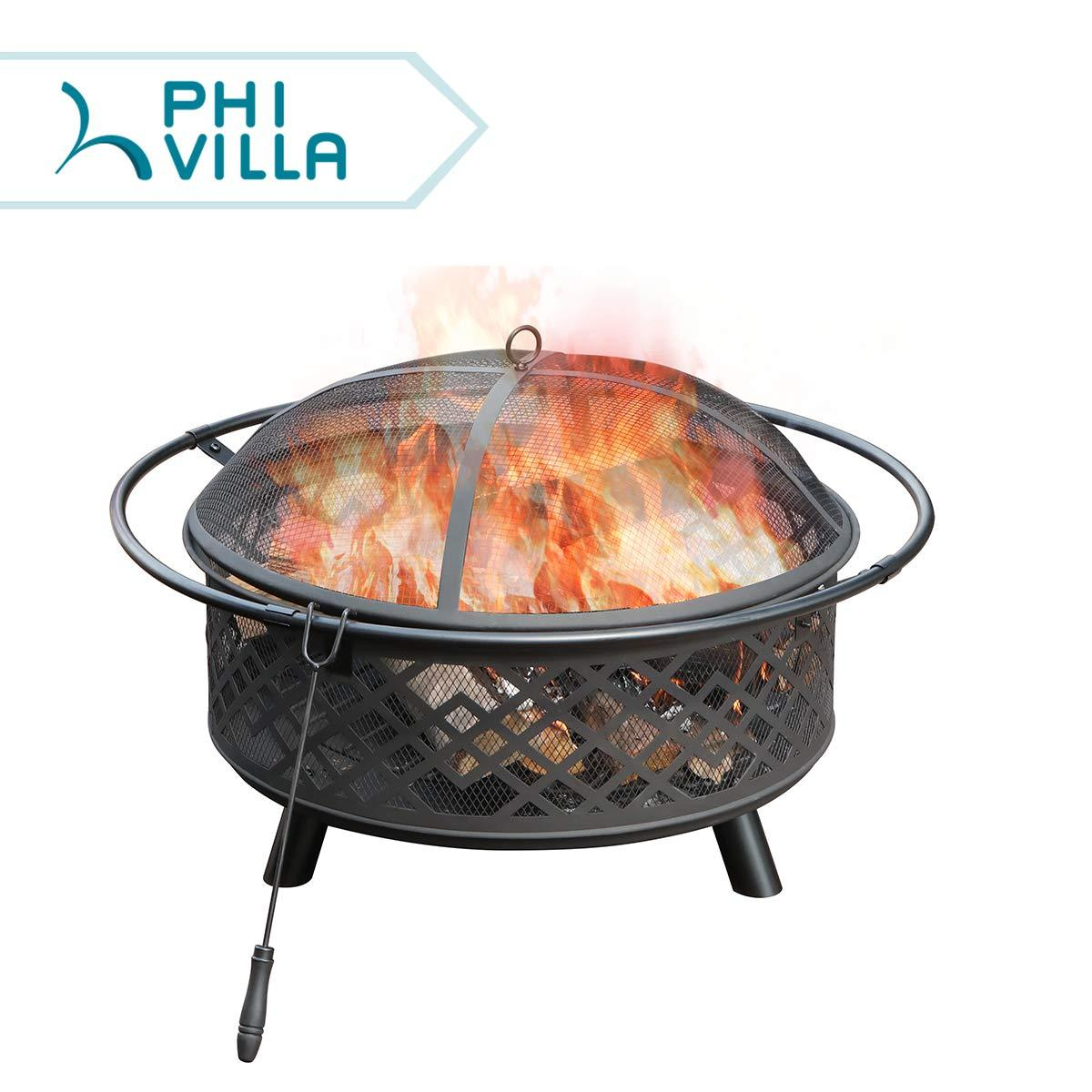 Phi Villa 32 Fire Pit Large Steel Patio Fireplace Cutouts Pattern With Poker Spark Screen Fire Pit Patio Bonfire Pits Patio