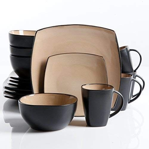 Square Dinnerware Set 16 Piece Mugs Dishes Bowl Dinner Plates Taupe Home Kitchen Gibson