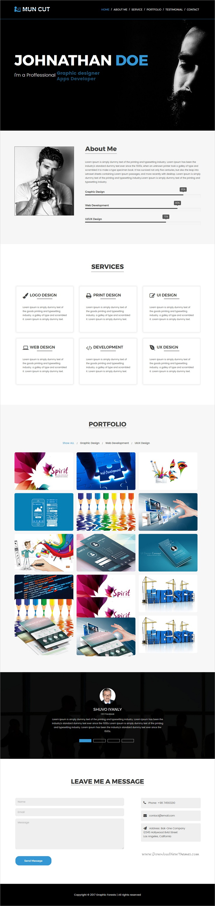 Mun Cut Personal Portfolio Html Template  Template For Resume